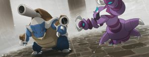 Pokemon: Mega Blastoise and Drapion by mark331
