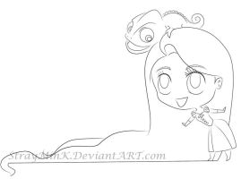 Rapunzel and Pascal :Line Art: by StrayMinK