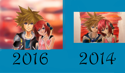 redraw: sora and kairi by demiselight88
