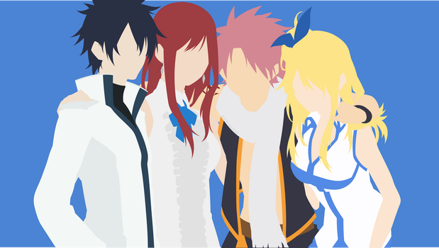 Erza + Gray + Lucy + Natsu (Fairy Tail) by ncoll36