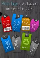 Price Tags in 8 shapes+6 color by khatrijiya