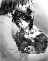 Aragorn holding Frodo by SapphireGamgee