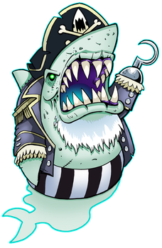 Ghostly Shark Pirate by curtsibling