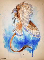 Blue Gryphon - Watercolor Painting by sugarpoultry
