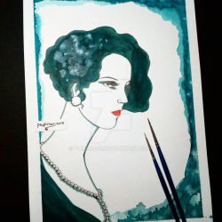 Blue Ink Lady ( 1920s lady series ) by papirous
