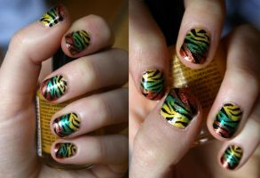 Neon Zebra Nail Art by faymorrow