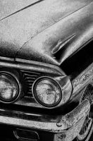64 Ford front corner B+W by happymouse666