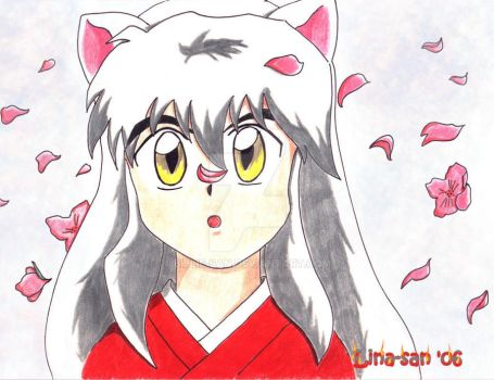Inuyasha and Sakura flowers by Billie-san