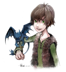 hiccup and mini toothless by oxalicacid