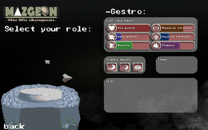 Game's role selection menu - Mazgeon by dokitsu