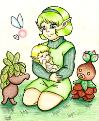 Saria and baby Link by suzie-chan