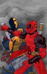 low rez Deadpool vs Deathstroke color  by BankyStar