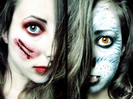 Red Riding Hood vs. The Wolf Halloween Makeup by Chuchy5