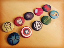 Avengers Inspired Pinback Button Set by Monostache