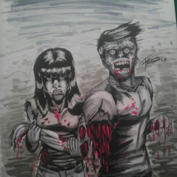 Zombie couple by wastedfrank