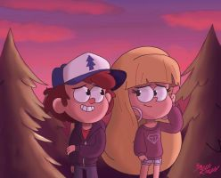 Dipper And Pacifica Summer Evening by TheFreshKnight