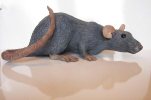 Rat Sculpture Clover Finished by philosophyfox
