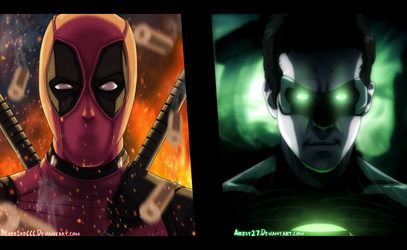 Deadpool and Green Lantern Marvel Color by KiritoALG