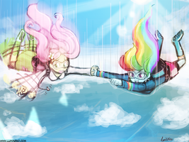 Skydiving (commission) by luminaura