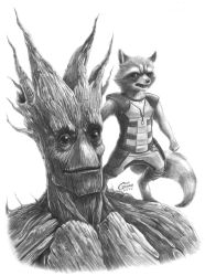 Groot and Rocket by Dreamgate-Gad