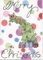 Cat on a Christmas tree by Angelic14