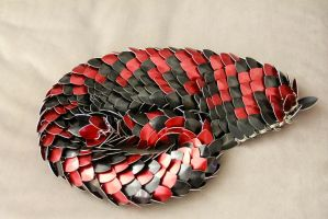 Dragon Tail - red mottled red over black by DracoLoricatus