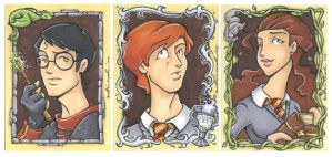 harry potter card trio by katiecandraw