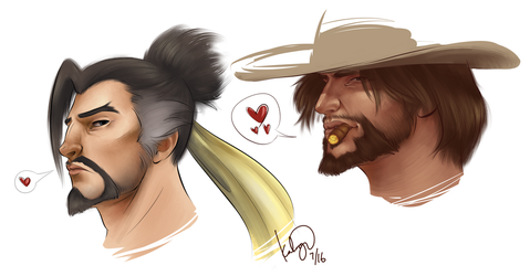 Paint Practice - McCree and Hanzo by seeker-kaliope