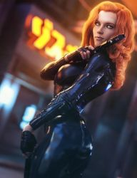 Red Head Girl with Guns, Sci-Fi Fantasy Woman Art by shibashake