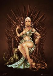 Princess Daenerys on the Iron Throne - COLORS by tabu-art