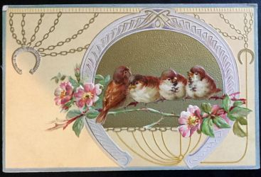 Vintage Postcard - Birds on a Branch + Horseshoes by KarRedRoses
