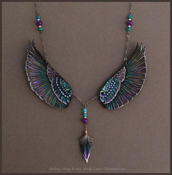 Starling Wings - Leather Necklace by windfalcon