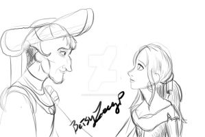 Betsy and Frollo sketch by Dracohoudini