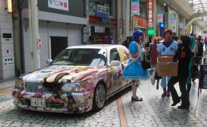 Cosplayers with Fortune Arterial Itasha by rlkitterman