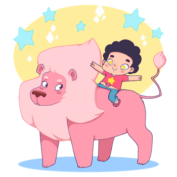 Steven and lion! by lost-angel-less