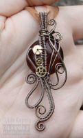 Brown steampunk pendant by ukapala