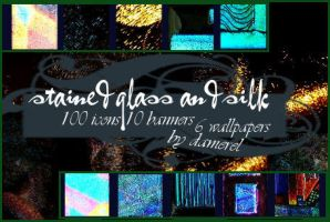 Textures: stained glass + silk by damerel