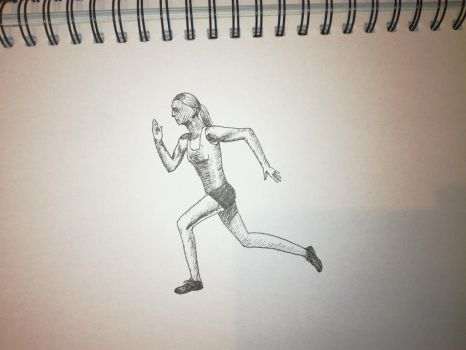 Inktober 2017, Day 25: running woman by GLangGould