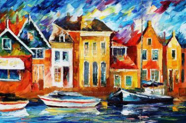 Amsterdam Dock by Leonid Afremov by Leonidafremov