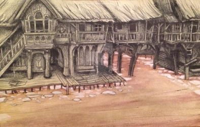 Laketown  pencil and watercolor by Jathoris