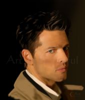 A Painting of Castiel from Supernatural by jht888