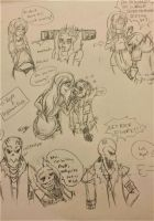 Fell Reset Sans x Nightmare Frisk doodles by lady-freya