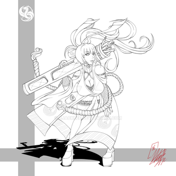 Lady Black Business Card Concept 2 Line Art by Zjacklee