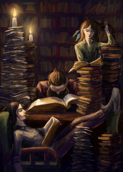 Night library by ArtistHanna