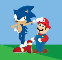 Mario and Sonic by gemstonelover49