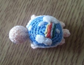 Mini Crochet Sky Turtle by technicolorcrafts
