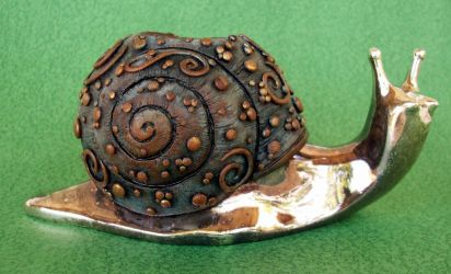 Metal and Polymer Clay Snail by MandarinMoon