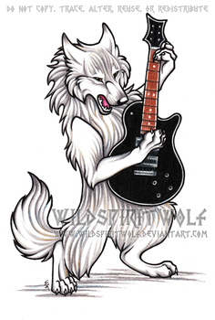 Wolf And Guitar Commission by WildSpiritWolf