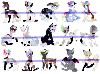 Adoptables pack 2 - CLOSED by n00ney