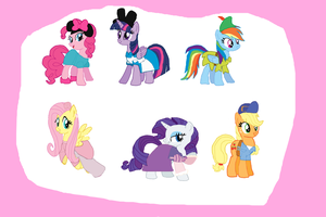 2013 Main 6 Ponies as Disney Characters Halloween by Dulcechica19